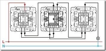 Как подключить три проходных выключателя