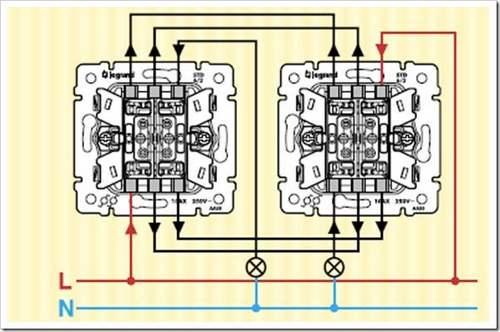 Как подключить два проходных выключателя