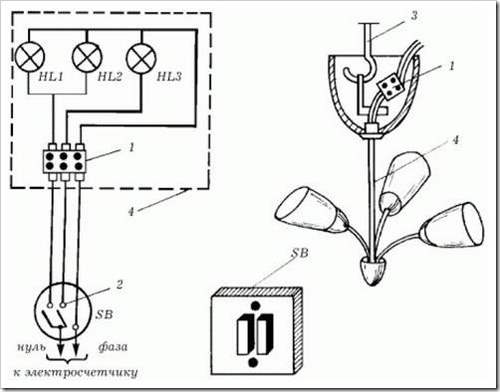 Как подсоединить провода в люстре.