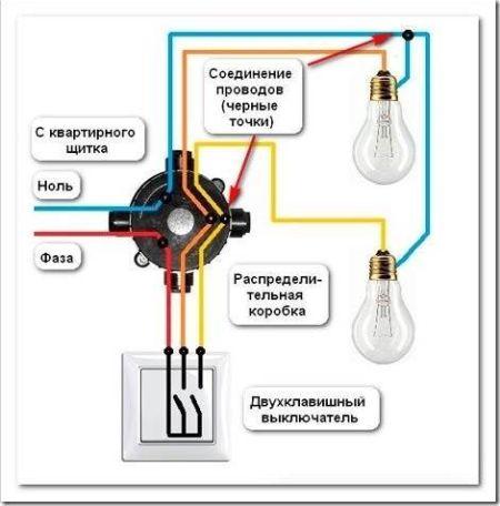 Как подключить люстру с 3 проводами?
