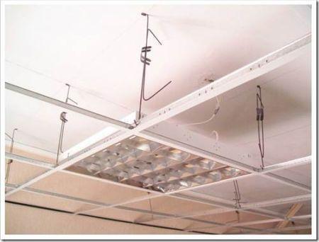 Установка освещения в подвесной потолок