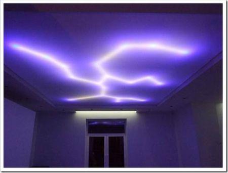 Искусственное освещение сатиновых натяжных потолков