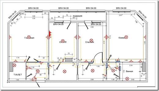 Разработка плана электрического освещения