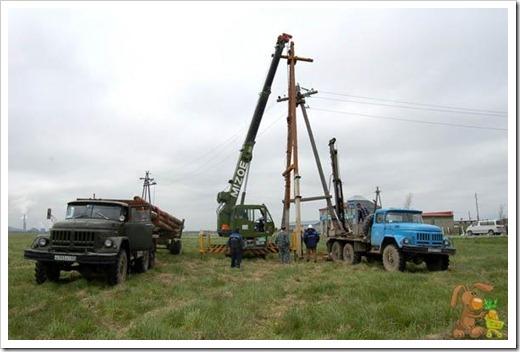 Установка деревянных и бетонных ЛЭП
