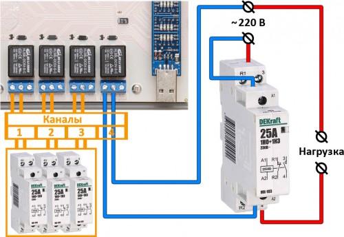 Как подключить модульный контактор