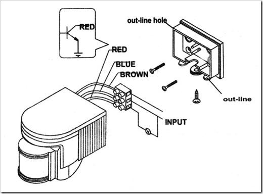 Электрическое подключение датчика движения