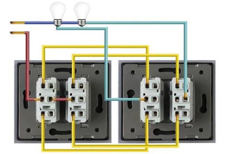 Как подключить проходной двухклавишный выключатель