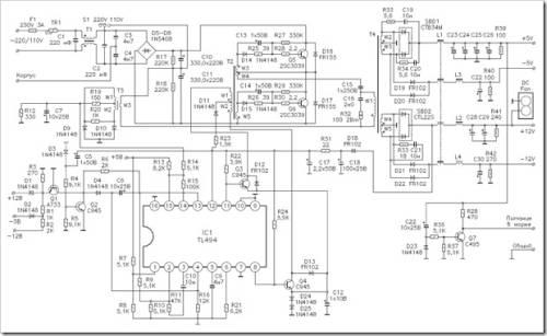 Краткое описание схемы электрической принципиальной блока питания компьютера